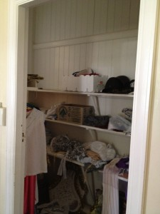 Enviable, now neglected linen cupboard